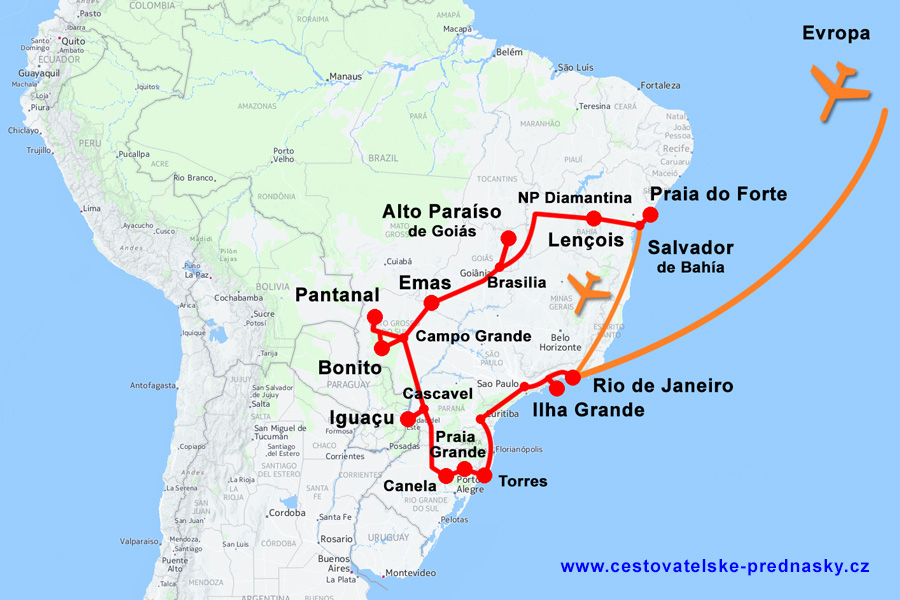 Brazílie - mapa