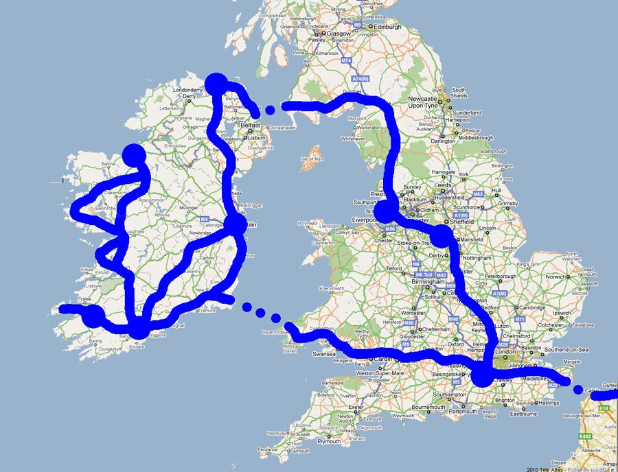 Cestovatelské přednášky - Irsko - mapa