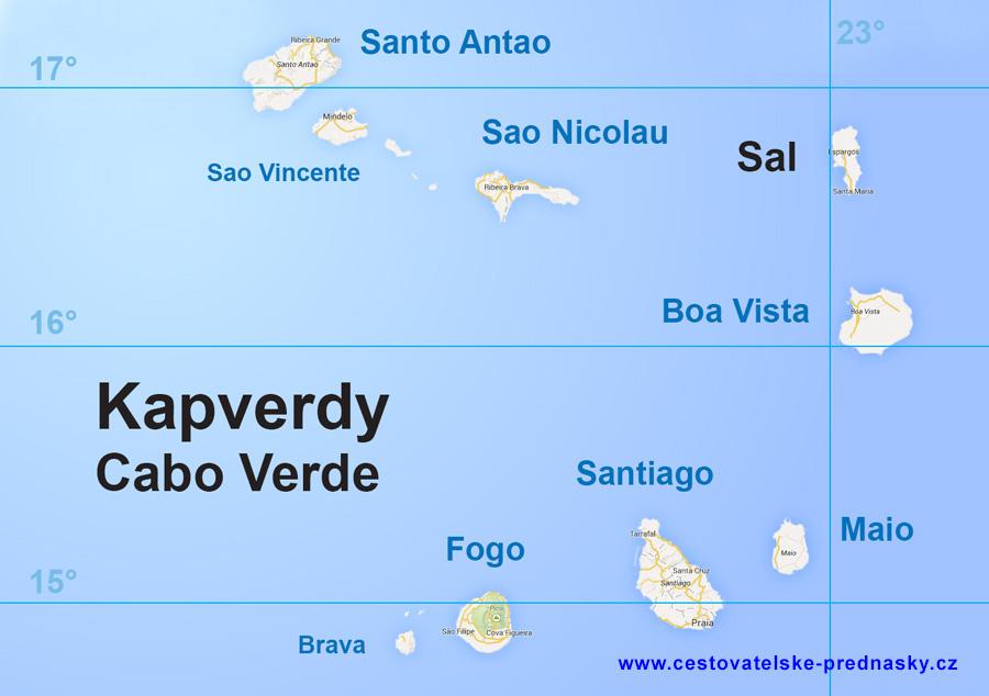 Cestovatelské přednášky - Kapverdy - mapa
