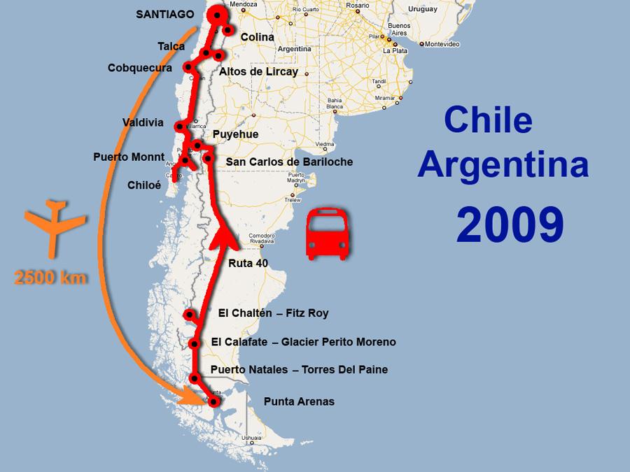 Cestovatelské přednášky - Patagonie - mapa