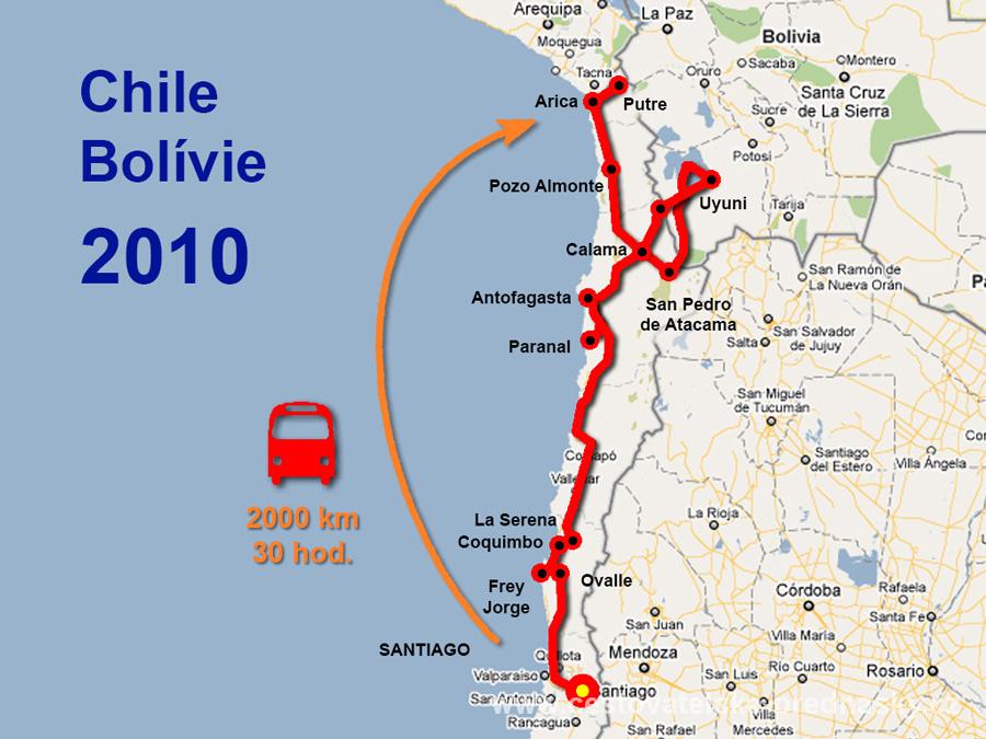 Cestovatelské přednášky - Severní Chile - mapa