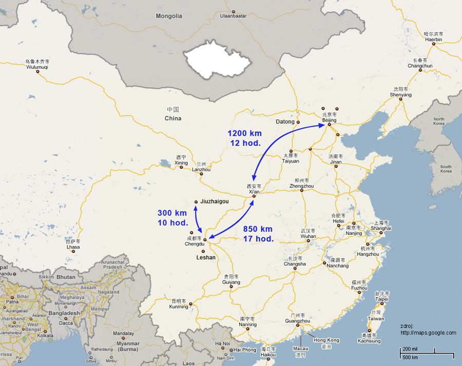 Cestovatelské přednášky - Střední Čína - mapa